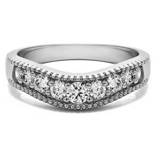 Sterling Silver Vintage Style Contour Wedding Ring mounted with Forever Brilliant Moissanite (0.48 Cts. twt)