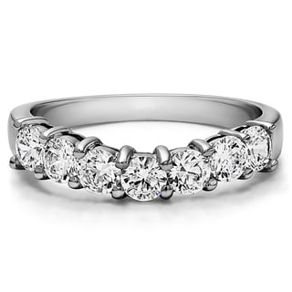 Sterling Silver Contour Style Anniversary Wedding Ring mounted with Forever Brilliant Moissanite (0.3 Cts. twt)