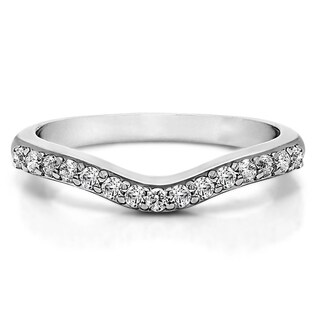14k Gold Delicate Curved Wedding Ring mounted with Forever Brilliant Moissanite (0.3 Cts. twt)