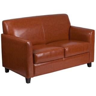 benville modern cognac leather loveseat