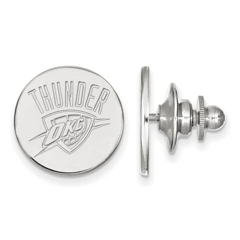Versil Sterling Silver NBA LogoArt Oklahoma City Thunder Lapel Pin
