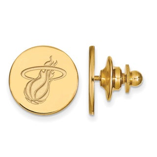 Sterling Silver With Gold Plating NBA LogoArt Miami Heat Lapel Pin