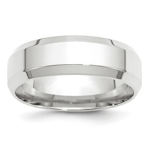 14K White Gold 7mm Polished Bevel Edge Comfort Fit Band by Versil