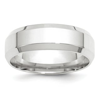 Link to 14K White Gold 7mm Polished Bevel Edge Comfort Fit Band by Versil Similar Items in Rings