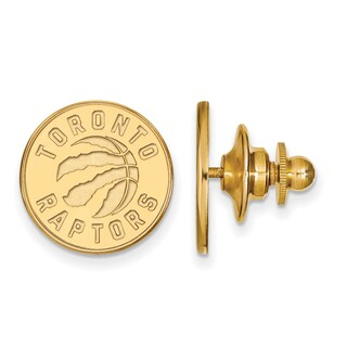 Sterling Silver With Gold Plating NBA LogoArt Toronto Raptors Lapel Pin
