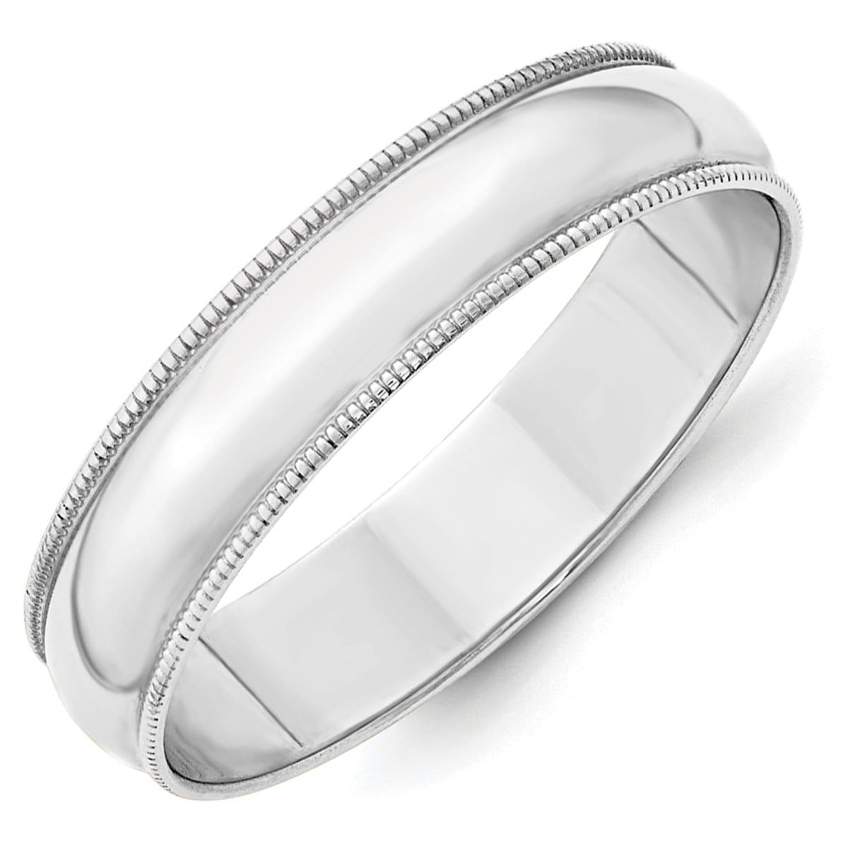 14K White Gold 3mm Light Weight Milgrain Half Round Band Size 4 to 14