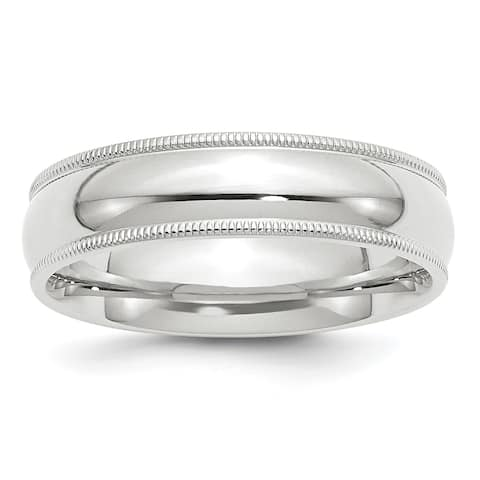 10K White Gold 6mm Polished Milgrain Comfort Fit Band by Versil