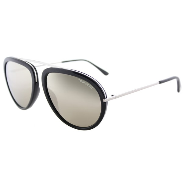 7a95bbdab Tom Ford TF 452 01C Stacy Shiny Black Plastic Aviator Sunglasses Brown  Mirror Lens