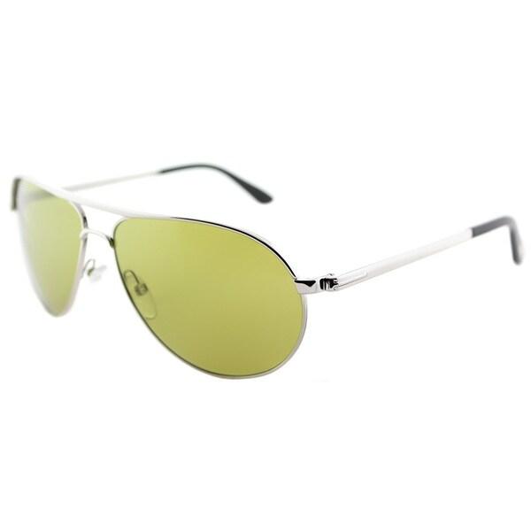 264954ee6cc Tom Ford TF 144 18N Marko Shiny Green Lens Rhodium Metal Aviator Sunglasses
