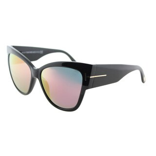 Tom Ford TF 371 01Z Anoushka Shiny Black Plastic Cat-Eye Sunglasses Pink Flash Mirror Lens