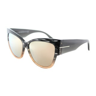 Tom Ford TF 371 20G Anoushka Grey to Peach Pink Flash Mirror Lens Plastic Cat-Eye Sunglasses