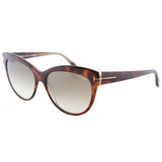Tom Ford TF 430 56F Lily Havana on Crystal Plastic Cat-eye Sunglasses with Brown Gradient Lens