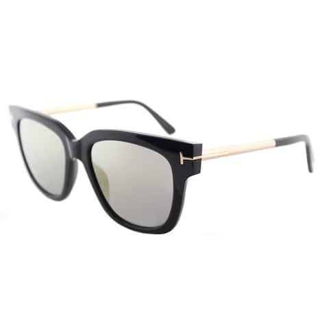 8de424f8384 Tom Ford Women s TF 436 01C Tracy Shiny Black Plastic Gold Mirror Lens  Square Sunglasses