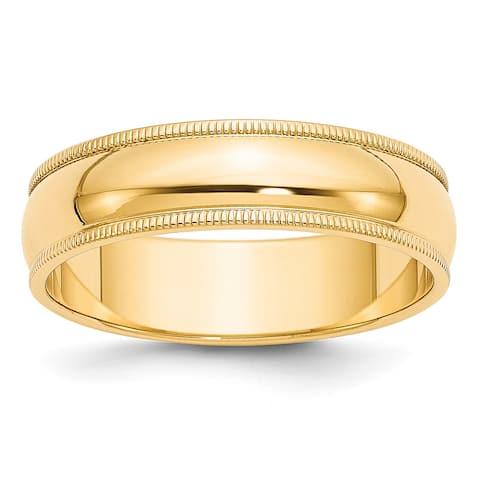 14K Yellow Gold 6mm Milgrain Half-Round Wedding Band by Versil