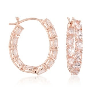14K Rose Gold Over Sterling Silver 3.71ctw Morganite Hoops Earrings