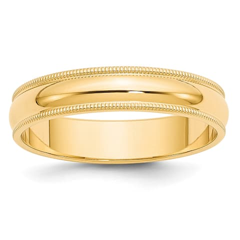 14K Yellow Gold 5mm Milgrain Half-Round Wedding Band by Versil