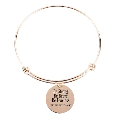 Pink Box Solid Stainless Steel be Strong be Brave Expandable Bangle in Rose Gold