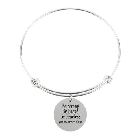 Pink Box Solid Stainless Steel be Strong be Brave Expandable Bangle in Silver