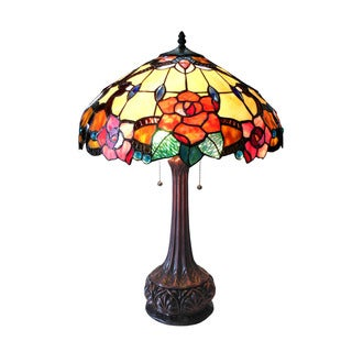Chloe Capucine Collection Tiffany Style Floral Design 2-light Dark Antique Bronze Table Lamp