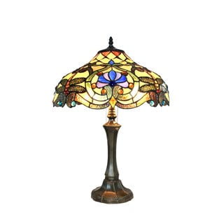 Chloe Amberwing Collection Tiffany Style Dragonfly Design 2-light Dark Antique Bronze Table Lamp