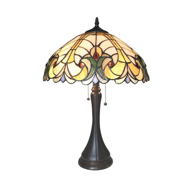 Chloe Amor Collection Tiffany Style Victorian Design 2-light Dark Antique Bronze Table Lamp