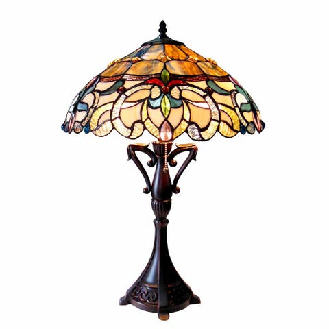 Nora Tiffany Style Victorian Design 2-light Dark Antique Bronze Table Lamp