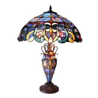Chloe Nora Collection Tiffany Style Victorian Design 2 + 1-light Dark Antique Bronze Table Lamp