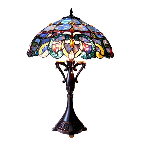 Chloe Nora Collection Tiffany Style Victorian Design 2-light Dark Antique Bronze Table Lamp