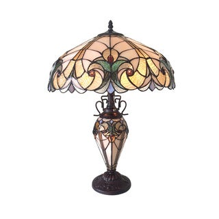 Chloe Liaison Collection Tiffany Style Victorian Design 2 + 1-light Dark Antique Bronze Table Lamp