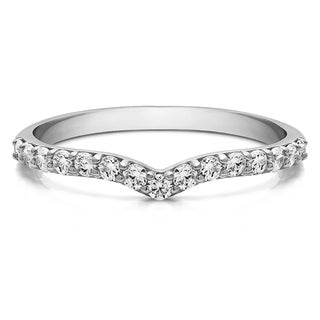 Sterling Silver Delicate Notched Contour Band mounted with Forever Brilliant Moissanite (0.12 Cts. twt) (More options available)