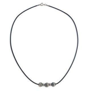 Pearls For You Black Rubber Sterling Silver Tahitian Pearl 8- to 9-millimeter Necklace
