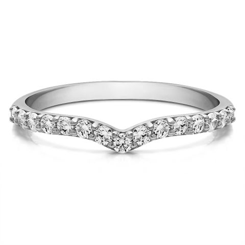10k Gold Delicate Notched Contour Band mounted with Forever Brilliant Moissanite (0.19 Cts. twt)