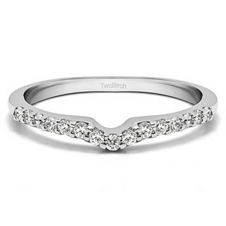 10k Gold Delicate Notched Contour Band Mounted With Forever Brilliant Moissanite 0 12 Cts Twt