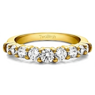 10k Gold Delicate Classic Curved Shadow Band mounted with Forever Brilliant Moissanite (0.62 Cts. twt) (8.5 - Yellow)