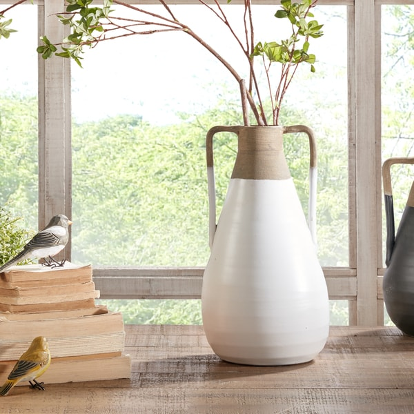 INK+IVY Lima White/ Sand Handmade Terracotta Vase - Medium