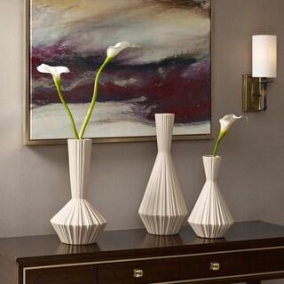 Madison Park Signature Lucia Ivory Handmade Stone Vase Set - Set of 3