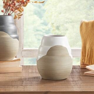 INK+IVY Lima White/ Sand Handmade Terracotta Vase - Small