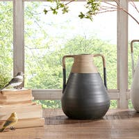 INK+IVY Lima Black/ Sand Handmade Terracotta Large Decorative Vase