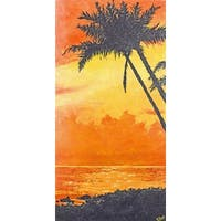 'Tropical Palm Ocean' Painting Print on Wrapped Canvas - Orange