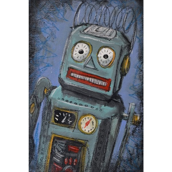 'Awkward Robot' Painting Print on Wrapped Canvas - Blue