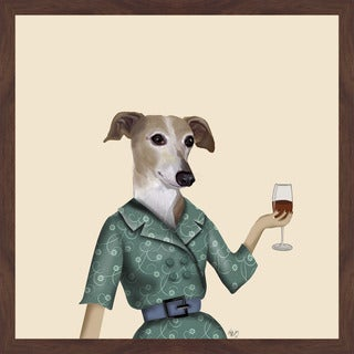 Greyhound Wine Snob' Framed Painting Print