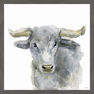 Opinionated Bull' Framed Painting Print