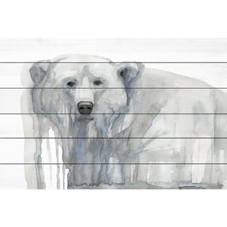 Marmont Hill - Handmade Polar Bear Painting Print on White Wood