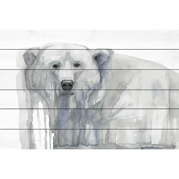 Marmont Hill - Handmade Polar Bear Painting Print on White Wood