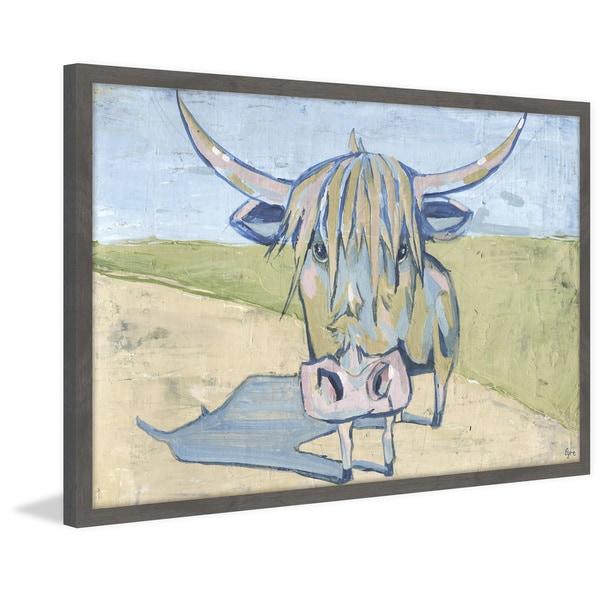Shaggy Bull' Framed Painting Print