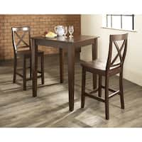 3 Piece Pub Dining Set with Tapered Leg and X-Back Stools in Vintage Mahogany