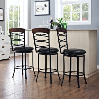 Highland Black Gold Swivel Counter Stool with Black Cushion