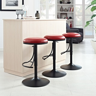 Crosley Furniture Metal Counter-height Backless Swivel Barstool with Brown Faux-leather Seat
