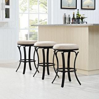 Crosley Furniture Hedley Black Goldtone Tan Cushion Swivel Counter Stool