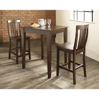3 Piece Pub Dining Set with Tapered Leg and School House Stools in Vintage Mahogany Finish
